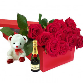 Red Roses In Gift Box With Teddy Bear And Moet