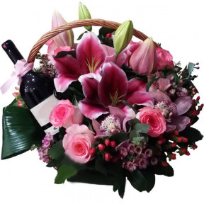 Basket With Fuchsia Flowers And Wine (small)