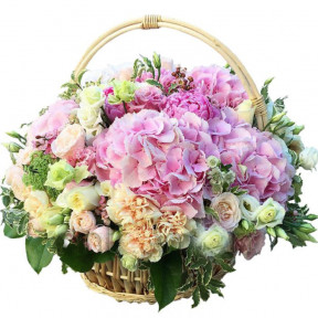 Roses And Hydrangea In Basket (small)