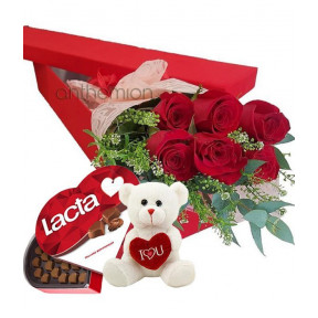 Floral Gift Box With 6 Red Roses, Chocolates And Teddy Bear