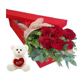 Floral Gift Box With 6 Red Roses And A Teddy Bear