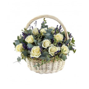 Basket With White Roses And Lavender (small)
