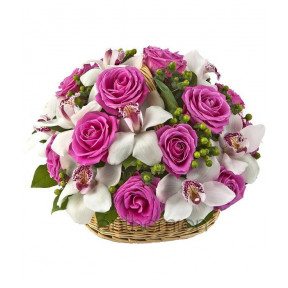 Fuchsia Roses And White Orchids In Basket