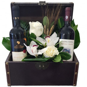 Wines And Flowers In Leather Chest