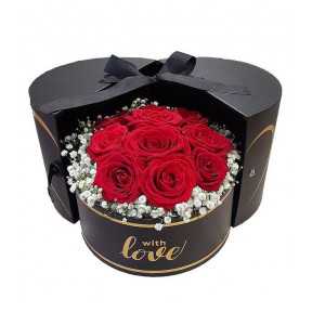 Red Roses In Box With Love