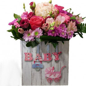 Lovely Flowers In Box For Baby Girl (small)