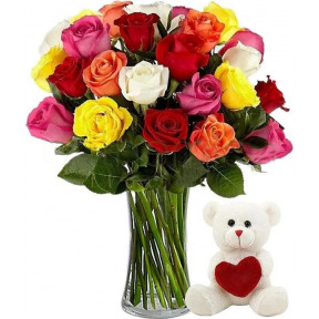 18 Colorful Roses With Teddy Bear