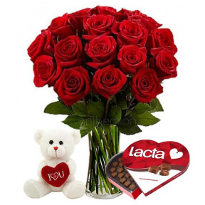 24 Red Roses With Chocolates And Teddy Bear