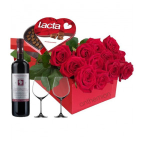 Red Roses In A Box With Chocolates, Wine And 2 Glasses