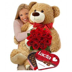Red Roses, Beige Teddy And Chocolates (Basic)