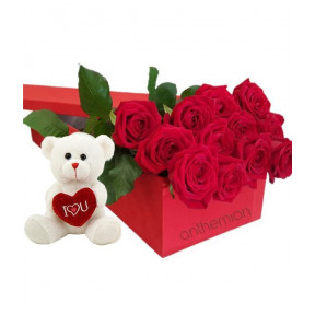 Roses And Teddy Bear In Gift Box