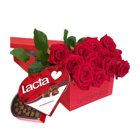 Red Roses With Chocolates In Gift Box (small)