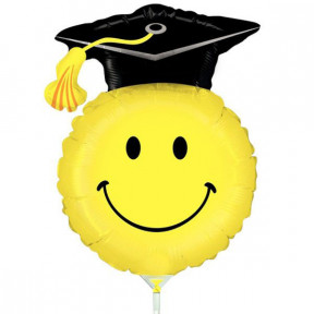 Graduation Smile Balloon With Stick 35Cm.
