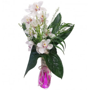 Elegant White Orchid In Vase (small)