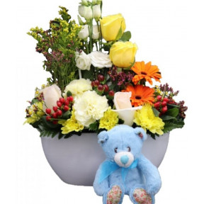 Flowers With Teddy Bear For Baby Boy