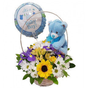 Basket With Flowers For Baby Boy,Teddy Bear And Balloon (small)