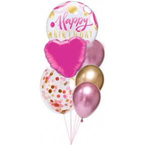Pink + Gold Happy Birthday Balloon Bouquet