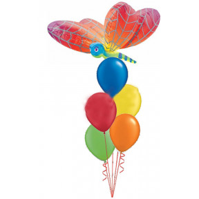 Rainbow Dragonfly Balloon Bouquet