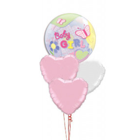 Baby Girl Bubble + Hearts Bouquet