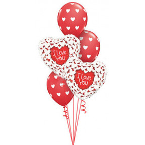 Red And White Hearts Love Bouquet