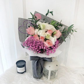 Korea Style 28 (6 stalks pink roses with white eustoma)
