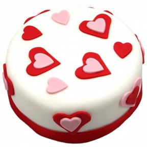 Pink N Red Heart Cake (7 Inch Pink n Red Heart Cake)