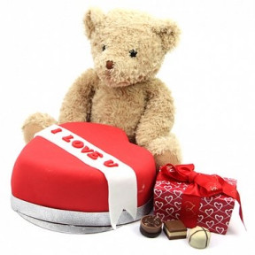Red Heart Chocolates And Bear (7 Inch Red Heart Chocolates and Bear)