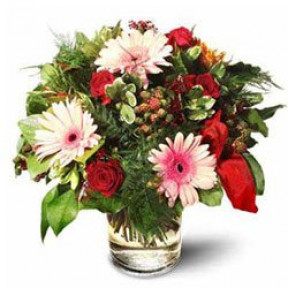 Roses With Gerbera Daisies (Small)