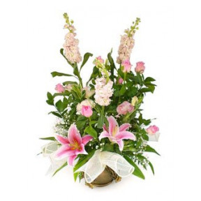 Pretty In Pink Flower Basket (Small)
