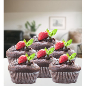 Chocolate muffins with decoration