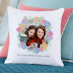 Floral Photo Throw Pillow