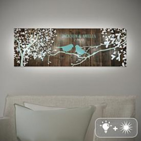 TwinkleBright LED Sweet Lovebirds Canvas