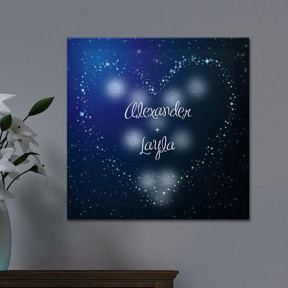TwinkleBright LED Heart in Stars Canvas