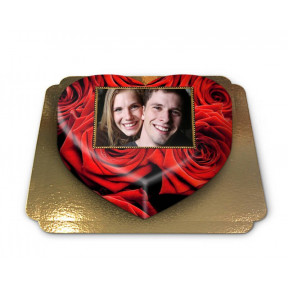 Cake Photo-red roses in heart shape (size M)