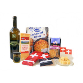 Swiss gift basket with cheese