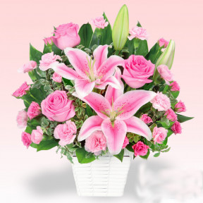 Arrangement of lilies and pink roses