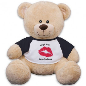 Personalized Big Kiss Teddy Bear - 11 (11 inch teddy)