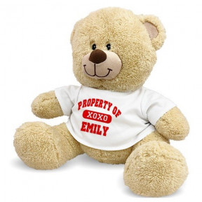 Personalized Property Of Xoxo Teddy Bear (11 inch teddy)