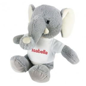 Personalized Gray Plush Elephant 8.5 (11 inch teddy)