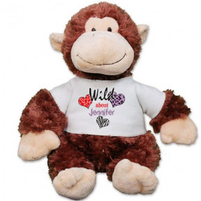 Personalized Wild About You Monkey - 12 Inch (11 inch teddy)