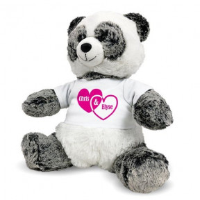 Personalized Panda Bear - Couples Hearts - 12 (11 inch teddy)