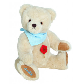 Cuddly TEDDY (personalized) 28cm in cream / light blue