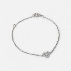 Sterling silver chain bracelet with heart charm and cubic zirconia stones