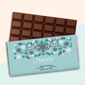Personalised Reindeer Chocolate Bar