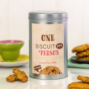 One Biscuit Per Person Cookie Tin