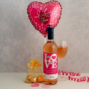 Personalised I Love You Wine Chocolates And Balloon