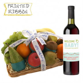New Parent Fruit Basket with Wine