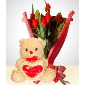 Romance Combo: 6 Roses Bouquet + Teddy Bear