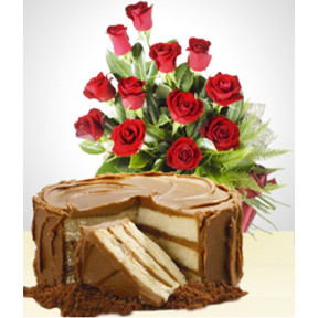 Sweetness Combo: Cake + 12 Roses Bouquet