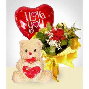 Tenderness Combo: 6 Roses Bouquet + Balloon + Teddy Bear